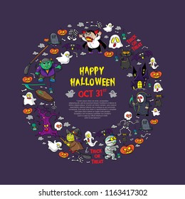 halloween greeting card or poster with cartoon illustration, set vector