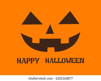 Halloween greeting card with pumpkin happy face on orange background