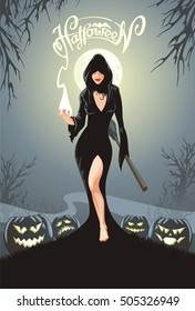 Halloween greeting card. Sexy woman in cape with broom is making magic. Witch is surrounded a pumpkins with scary faces in spooky landscape under a full moon light.