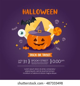 Halloween greeting card template. Place for your text. Vector illustration with pumpkin in a witch hat, moon, bat and candy. Design for invitation and party.