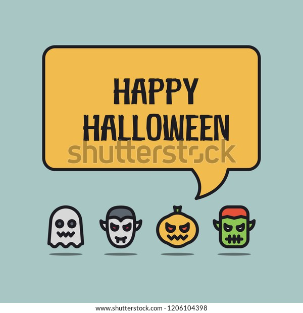 Halloween Greeting Funny Avatars Stock Vector (Royalty Free