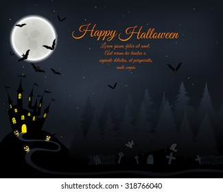 Halloween Greeting (Invitation)  Card. Elegant Design With Castle in Fir Forest, Flying Bats, Moon and Cemetery With Ghosts  Over Grunge Dark Blue Starry Sky Background. Vector illustration.