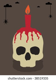 halloween greeting party card with skull and candle
