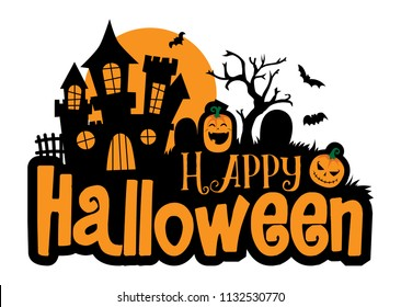 Halloween greeting vector template, lettering of Happy Halloween with pumpkin and castle element isolated against white background