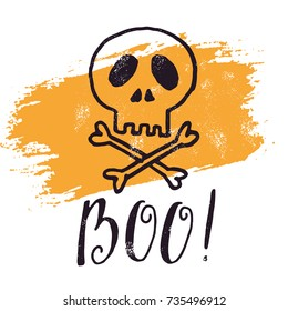 Halloween greetings card. From hand-written lettering classic phrase for Halloween. Vector illustration