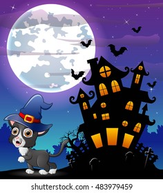 Halloween grey kitten wearing witches hat with scary castle in front of full moon .Vector illustration