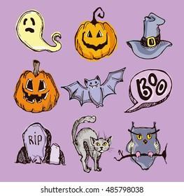Halloween hand drawn characters and attributes doodle. Bat, Pumpkin.