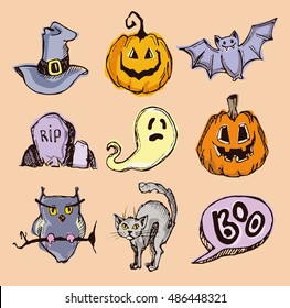 Halloween hand drawn characters and attributes doodle. Halloween Vector illustration.