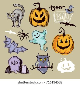 Halloween hand drawn characters and attributes doodle set. Vector illustration.