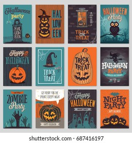 Halloween hand drawn invitation or greeting Cards set. Vector illustration.