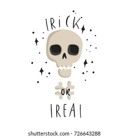 Halloween hand drawn modern card or poster design. Trick or treat lettering.  Illustrations collection
