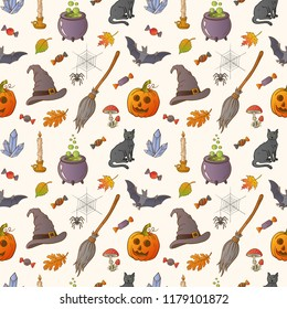 Halloween hand drawn seamless pattern. Endless background with pumpkins, cats, bats, brooms, spiders, candies, candles, spider web and autumn leaves.