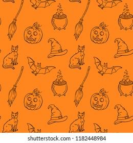 Halloween hand drawn seamless vector pattern. Endless Halloween background with pumpkins, cats, bats, brooms, cauldrons.
