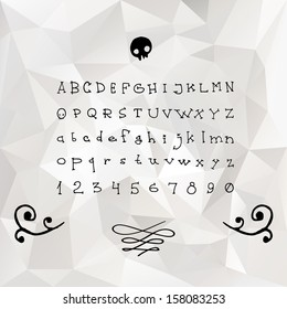 Halloween hand drawn vector full alphabet. The vector Roman font with numbers.