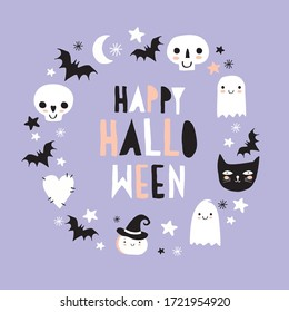 Halloween Hand Drawn Vector Illustration with Cute Pumpkin, Ghosts, Black Cat, Funny Skulls and Bats on a Pastel Violet Background. Kawaii Style Decoration for Halloween Party. Happy Halloween Card.