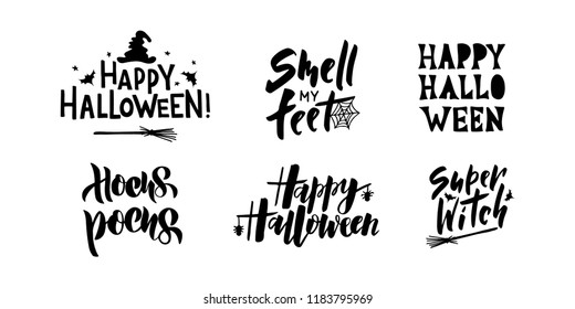 Halloween - hand lettering set with Halloween symbols. Template for greeting card, party invitation, banner, postcard, poster. Celebration lettering typography poster. Vector illustration.