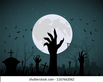 halloween hand zombie from ground on night and big moon