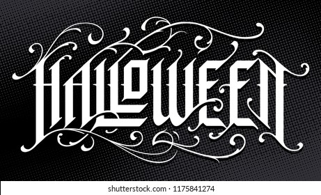 Halloween Hand-Drawn Gothic Lettering with vintage floral patterns on black background. Vector typography.