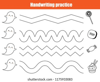 Halloween handwriting practice sheet. Educational children game, printable worksheet for kids