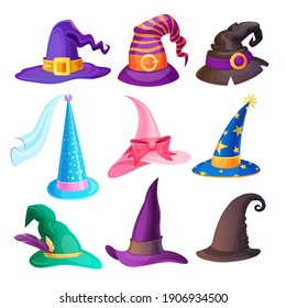 Halloween hats isolated vector set with cartoon caps of witch, wizard, fairy or stargazer, decorated with stars, feathers, bucklets and ribbons, bow, veil. Magic headwear for Halloween holiday design