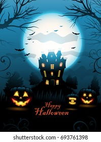 Halloween haunted house background vector illustration, with place for text and moon in the sky