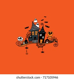 Halloween haunted house doodle vector illustration surrounded by skulls, bats, ghosts, cobwebs and swirls on an orange background.