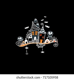 Halloween haunted house doodle vector illustration surrounded by skulls, bats, ghosts, cobwebs and swirls on a black background.