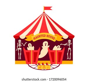 Halloween haunted house flat. Cartoon design horror house, scary ghost night party. Summer outdoor kid fun time. Magic and frightening amusement park festivals. Vector Isolated illustration