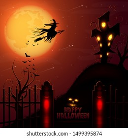 Halloween haunted house and full red moon background