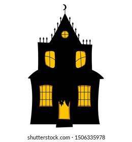 Halloween haunted house icon. Flat cartoon style creepy mansion. Vector illustration isolated. October holidays. All saints day. Creepy witch, monster lair.