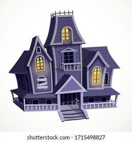 Halloween haunted house isolated on white background