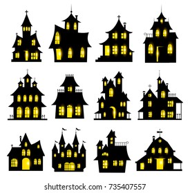 Halloween haunted house set isolated on white background. Vector illustration