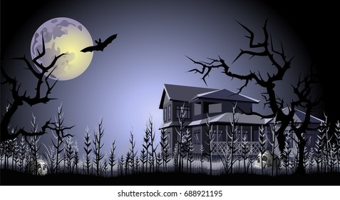 Halloween. Haunted house, trees, skulls and bat under full moon. Hand drawn vector illustration.