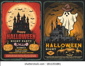 Halloween haunted houses vector design with horror night ghost and bats, pumpkins and trick or treat candies, spooky moon, graveyard and cemetery monsters. Halloween holiday party invitations