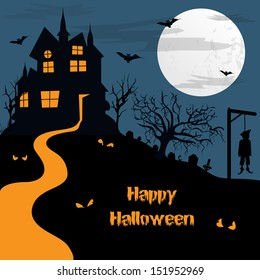 Halloween haunted moonlight night background with spooky house, can be use as flyer, banner or poster for night parties.