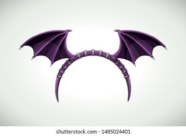 Halloween head band with dark bat wings. Funny costume element for Helloween celebration. Vector icon.