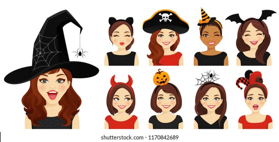 Halloween headbands and hat women set with different emotions vector illustration