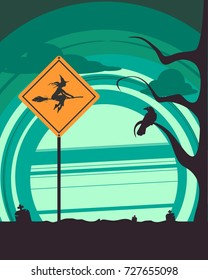 Halloween holiday background. Flying witch silhouette with broomstick on warning yellow road sign. Cemetery view at night