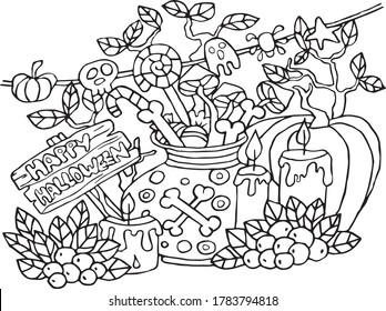 Halloween holiday coloring book stock illustration antistress with pumpkin, candles, candies, magic potions, bones, berries, mushrooms. Vector illustration for art therapy, coloring.