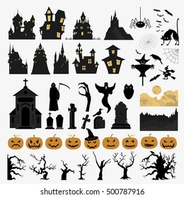 Halloween holiday constructor. Graphic template. Flat icons. Vector illustration