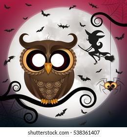 Halloween holiday crazy owl with big eyes