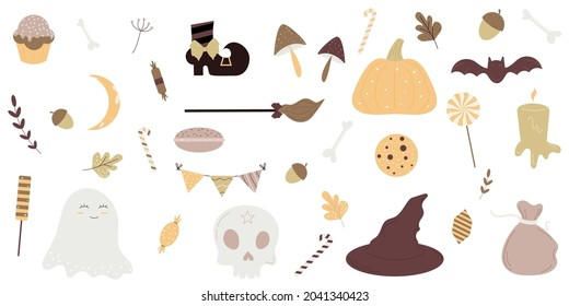 Halloween holiday cute element set on a white background.Magic hat, sweets, pumpkin, flag, skull, bat, scecha, broom, ghost.Vector illustration.Flat design.Eps 10