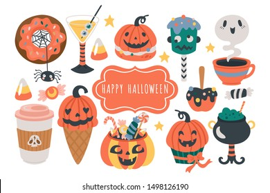 Halloween holiday cute food and drinks set. Childish print for cards, stickers and party invitations. Vector illustration