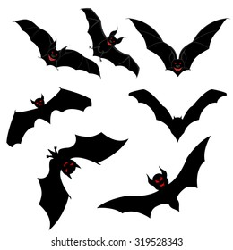 Halloween Holiday Elements Set. Collection With Flying Bats Over White Background for Creating Halloween Designs.  Vector illustration.