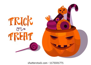 Halloween holiday greeting card. Halloween  vector composition with pumpkin and more halloween candys.  Illustration isolated on white background. Vector illustration. Trick or Treat Concept.