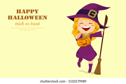 Halloween holiday. Happy cute little girl witch with a pumpkin bucket and a broom. Flat design cartoon vector illustration.