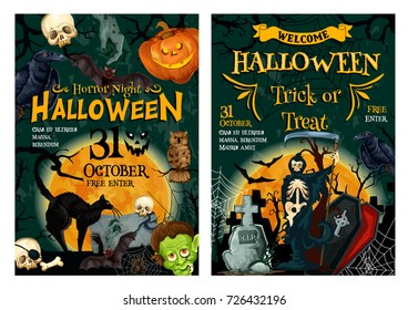 Halloween holiday horror party welcoming banner set. Creepy night on graveyard poster with spooky Halloween pumpkin, bat and spider, skeleton skull, black cat, zombie and grim reaper with death scythe