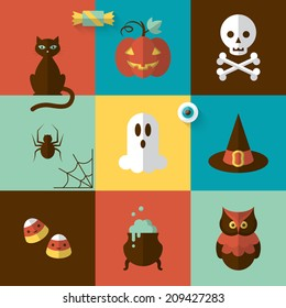 Halloween holiday modern design with flat icons. Vector illustration
