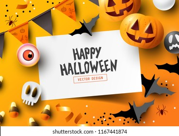 Halloween holiday party Composition with Jack O' Lantern pumpkins, party decorations and sweets on a colorful abstract background. Top view vector illustration.