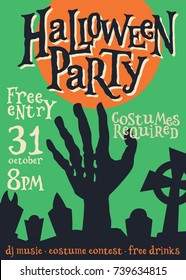 Halloween Holiday Party Poster. Vintage Spooky Zombie Flyer. Halloween Invitation Card. Vector Illustration.